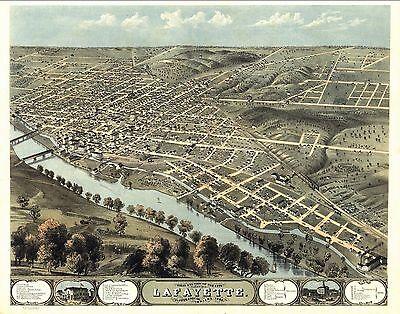 1868 LAFAYETTE INDIANA map GENEALOGY atlas  poster TIPPECANOE county old IN 08
