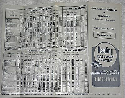 Reading Railway System Timetable October 27, 1963 W. Trenton - Philadelphia