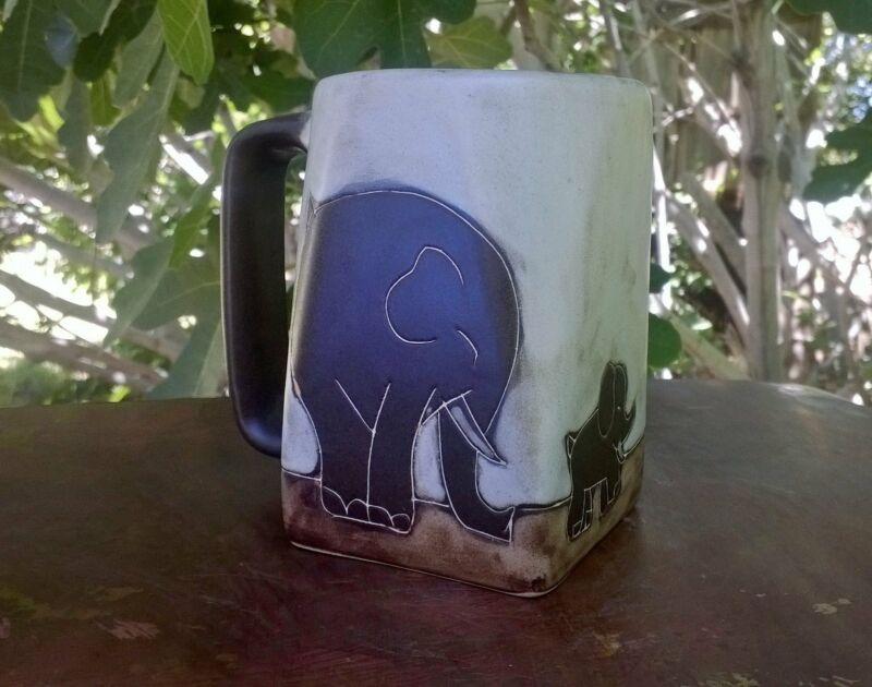 Elephant Mara Mug in lead free stoneware pottery 12oz