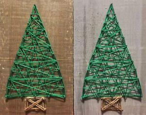 String Art Christmas Tree Decorations on Barn Board