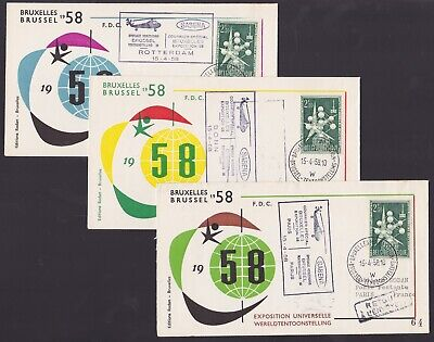 Belgium 1958 Set of 3 Airmail covers - EXPO 58 HELIPORT Special flights....A6899