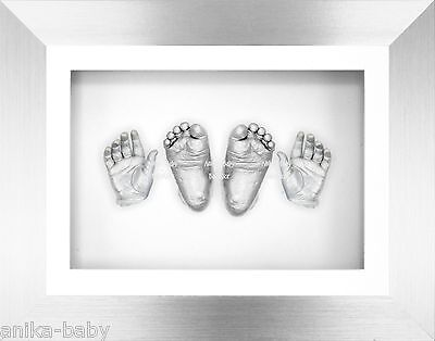 New Christening Gift Present 3D Hand & Foot Baby Casting Kit Silver Frame Casts