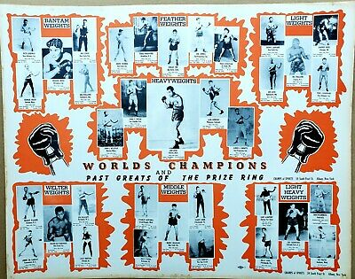 1940s Jewelry Styles and History 1940's Boxing Poster, World Champions, Joe Louis, Past Greats of the Prize Ring $90.00 AT vintagedancer.com