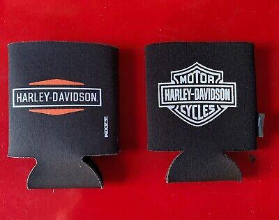 Harley-Davidson Beer Koozie Logo Motorcycles Can Holder Black SET 2 FREE SHIP