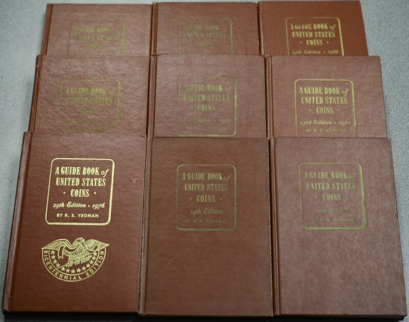 Guide Book of United States Coins By R S Yeoman Lot of 9 Reference Books