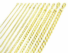 Solid 14K Yellow Gold 1.5mm-12mm Curb Chain Cuban Link Necklace Bracelet 7