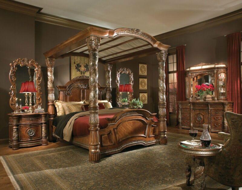 Michael Amini Villa Valencia Traditional Luxury Poster Canopy 4pc Bedroom Set