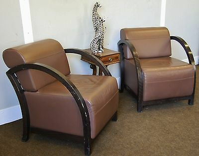 PAIR OF GENUINE RETRO ARMCHAIRS/EASY CHAIRS, WOOD FRAME, BROWN LEATHERETTE SEATS