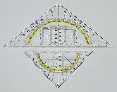 Geodreieck 2 Stück Standard - klein 11/15,5 cm - groß 17,5/25 cm mit Griff - NEU