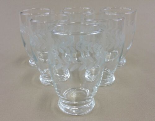 laurel leaf juice glasses vintage (set of 6)