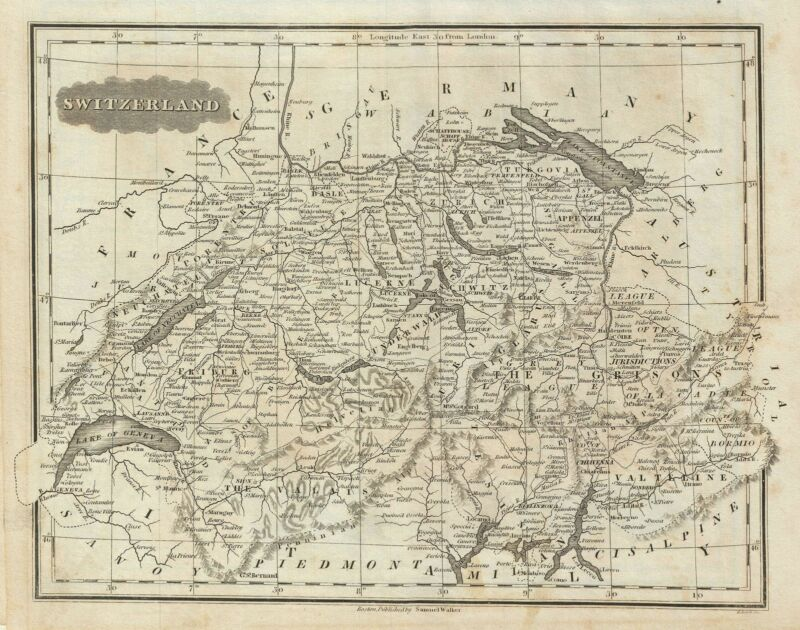 1828 Malte-Brun Map of Switzerland
