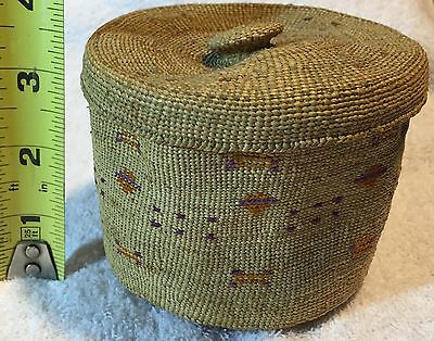 Alaska Attu Basket Aleutian Lidded finely woven Unique Design Circa 1930's