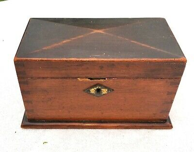 SMALL ANTIQUE OAK TEA CADDY CONVERTED TO JEWELLERY BOX WITH LIFT OUT TRAY