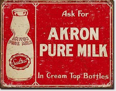 Akron Pure Milk Cream Top Bottles Metal Sign Tin New Vintage Style USA #1841