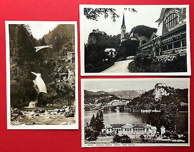 3 x AK BLED Jugoslawien Kirche Café Toplice, Wasserfall   ( 9230