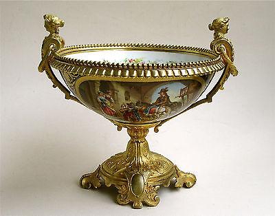 Porzellan Prunkschale mit Bronze - Montierung Vergoldung Sevres 19. Jh.