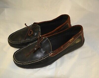 Cole Haan Black & Brown Leather Tie Driving Loafers Slip-On Shoes Mens Sz 9M 9 M Brown Shoe Leather Tie