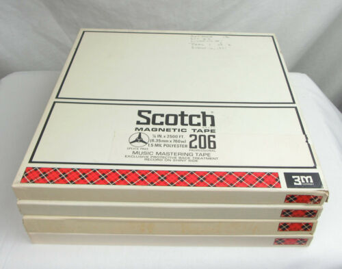 Scotch 206 Reels with Tape and Boxes, 1/4 x 10.5, Set of 4 - Used, Free Shipping