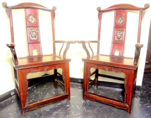 Antique Chinese High Back Arm Chairs (2597) (Pair), Circa 1800-1849