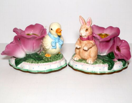 Springtime Collection Duck & Bunny Candle Holders by Avon