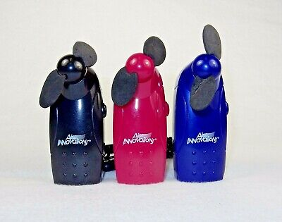 3 Small Personal Hand Held Fans With Lanyards, Battery Operated, Assorted - Battery Operated Hand Held Fans