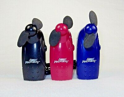 3 Small Personal Hand Held Fans With Lanyards, Battery Operated, Assorted Colors](Hand Held Battery Operated Fans)