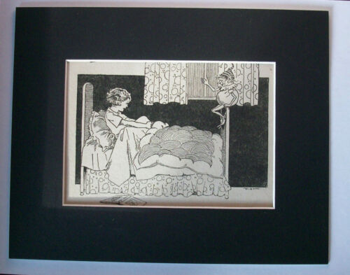 Print Girl Bed Elf On Bedpost Bedtime 1930s Bookplate 8x10 Matted Adorable Cutie