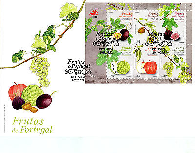 PORTUGAL 2017 FDC FRUIT FRUITS GRAPES APPLES 6V M/S COVER PLANTS TREES STAMPS
