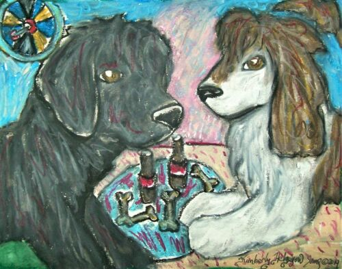 """PORTUGUESE WATER DOG """"PWD Date Night"""" Dog Pop Art Print 8x10 Signed by KSAMS"""