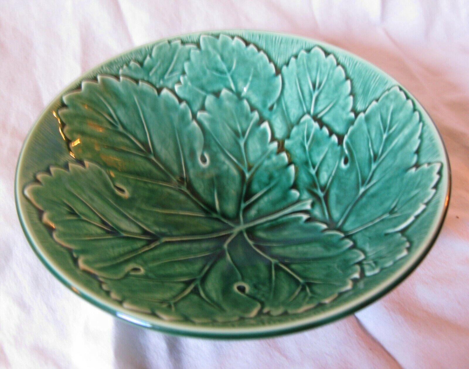Vintage WEDGEWOOD  BARLASTON Etruria MAJOLICA Green Leaf Bowl
