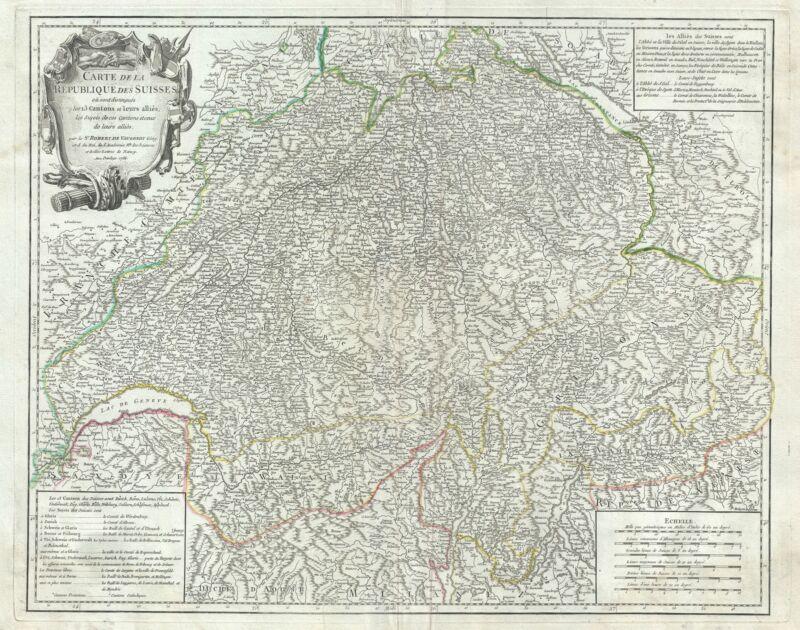 1756 Vaugondy Map of Switzerland