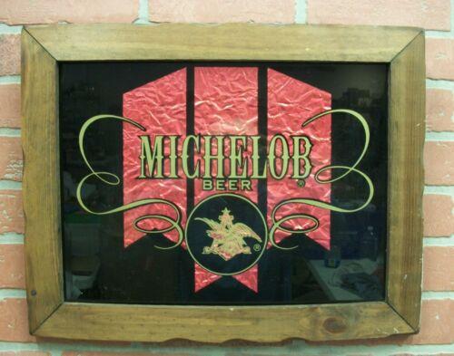 Vintage Michelob Beer Glass Framed Foil Advertising Hanging Tavern Sign