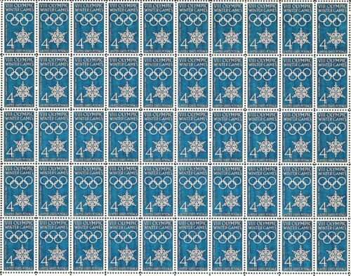 1960 - Winter Olympics - Vintage Full Mint Sheet Of 50 U.s. Postage Stamps