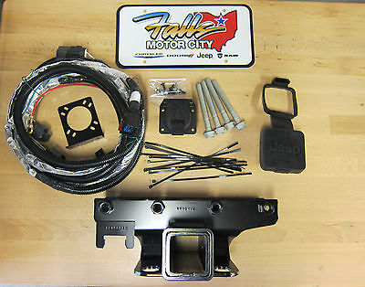 2007-2018 Jeep Wrangler JK Trailer Tow Hitch Receiver / 7-Way Wiring Kit & Cover