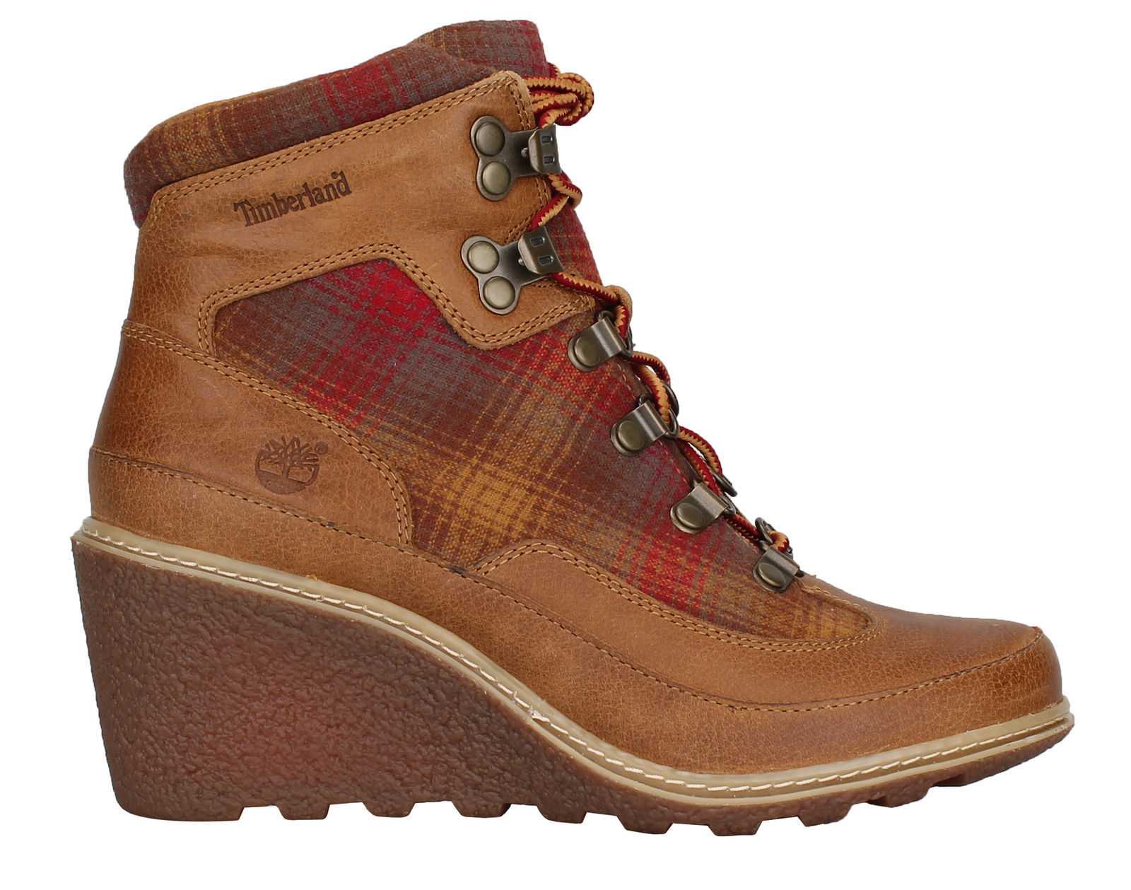 New Timberland Women's Amston Hiker Boots (A1124)  Wheat Woodlands/Red Pendleton