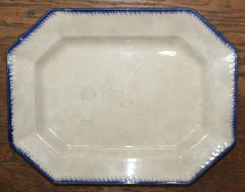 Antique Blue Leeds Ironstone Platter