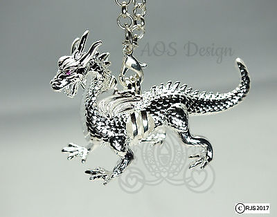 Silver Dragon Pearl Cage Red Ruby Eyes Maleficent Charm Locket Metal Pendant LE ()