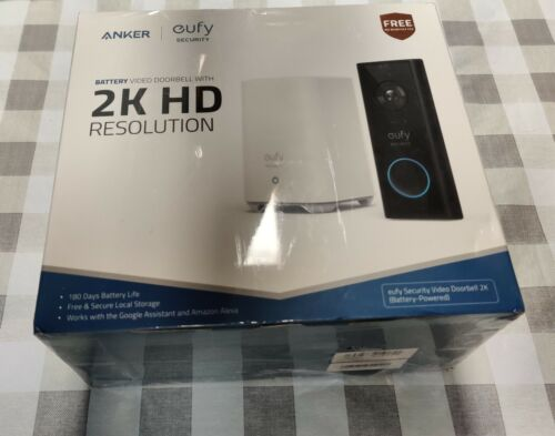 Eufy E82101W3 Wireless Battery-Powered Video Doorbell Kit - Complete Tested!
