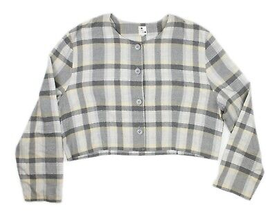 Domino Womens Gray Flannel Plaid Button Front Jacket Blazer Top Size 42 L