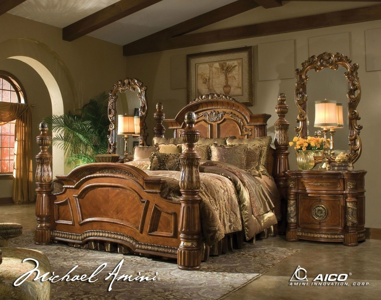 Details About Michael Amini Villa Valencia Traditional Luxury King Sz 4 Poster Bed Bedroom Set