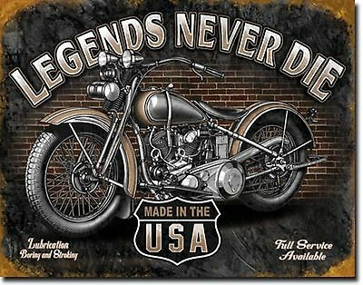 Legends Never Die Motorcycle Garage Metal Sign Tin New Vintage Style USA #1630