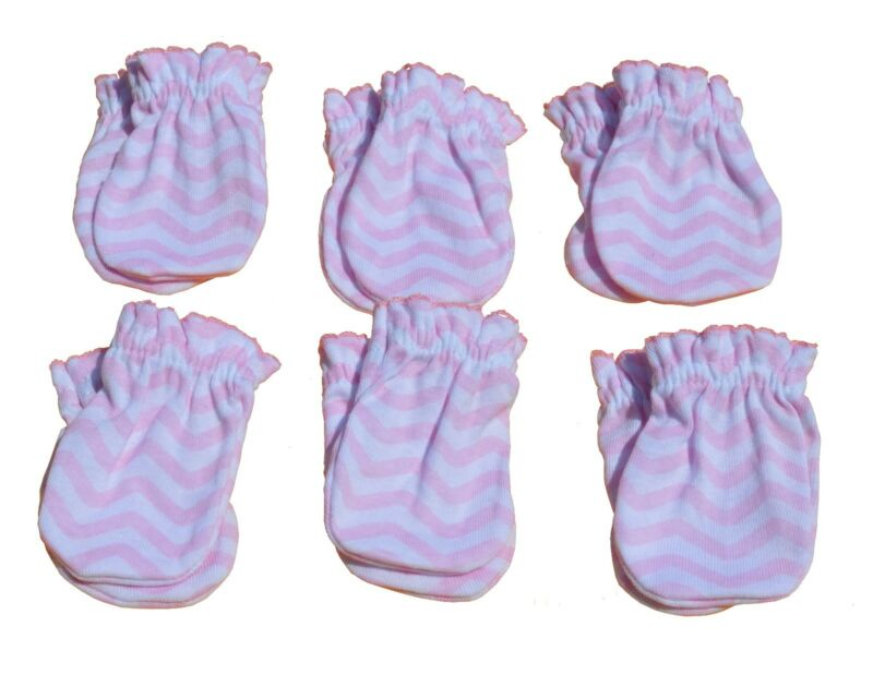 Pink Wave - 6 Pairs Cotton Newborn Baby/infant No Scratch Mittens Gloves