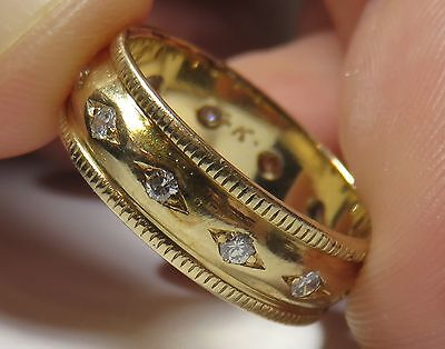 14K VINTAGE ART DECO FLORAL DIAMOND ETERNITY BAND WEDDING ANNIVERSARY RING