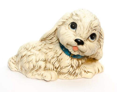 Ceramic Medium Size Puppy Dog Big Eyes Figurine Vintage