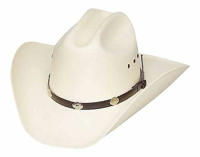 Classic Cattleman Straw Cowboy Hat with Silver Conchos White