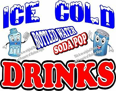 Ice Cold Drinks Decal Choose Your Size Soda Water Food Truck Concession