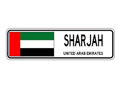 Sharjah United Arab Emirates - Sharjah, United Arab Emirates Street Sign Emirati Flag City Road Gift