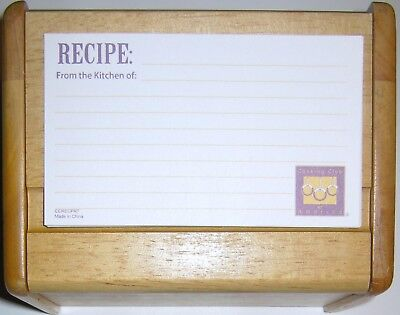 SMALL WOODEN RECIPE BOX WITH 6 RECIPE CARDS AND PROTECTIVE PLASTIC SLEEVES