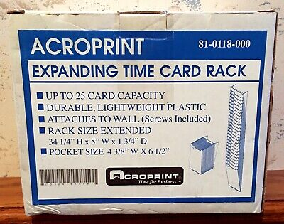 Acroprint Expanding Time Card Rack 81-0118-000 Capacity 25 Wall Mount Beige New