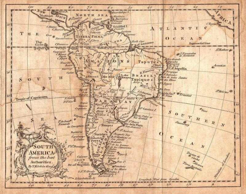 Rare Original 1759 Antique World Map SOUTH AMERICA Argentina Brazil Amazon Peru